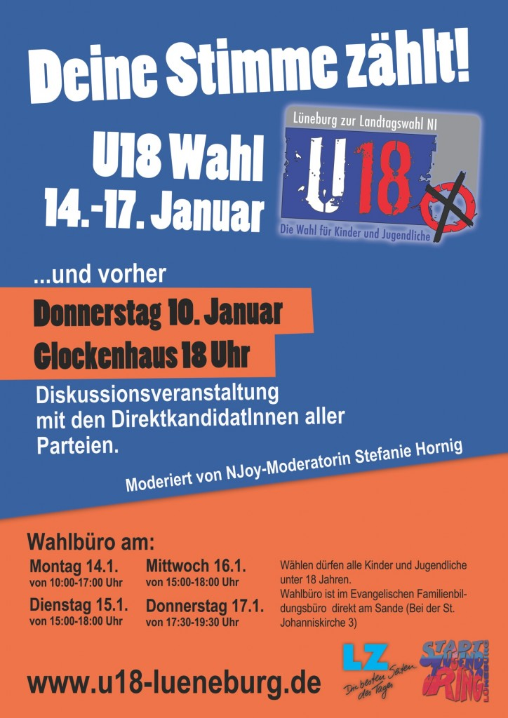 Plakat zur U18-Wahl und der Diskussionsveranstaltung