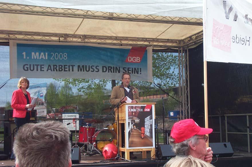 DGB-Chef Hartwig Erb bei Auftaktrede zum 1. Mai in Lüneburg